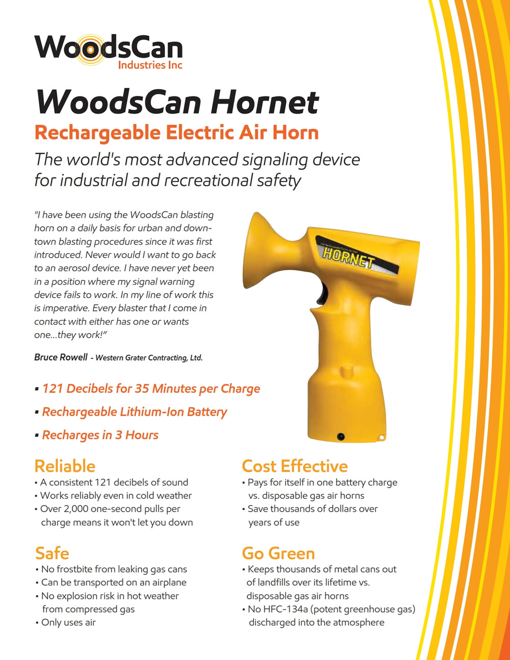 WoodsCan Industries Inc. Developers of the unique WoodsCan Hornet - 14V Rechargeable, Electric Air Horn, download brochure