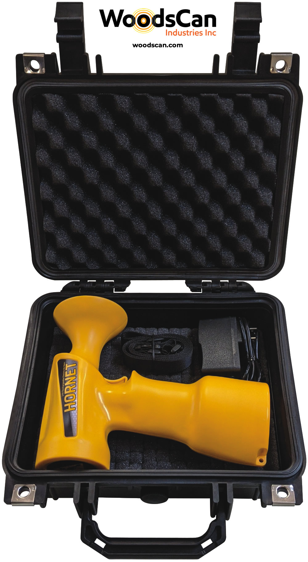 WoodsCan Hornet Rechargeable Electric Air Horn - the world's most advanced signaling device for industrial and recreational safety.